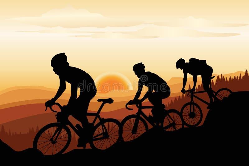 骑自行车的山 库存例证