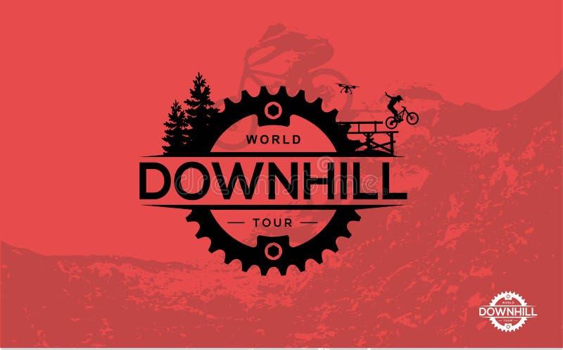 骑自行车的循环的小山山 下坡, freeride,极端体育 传染媒介Ilustr 皇族释放例证