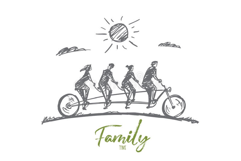 传染媒介手拉的家庭时间概念剪影 包括四名成员的家庭一起骑一辆大图片