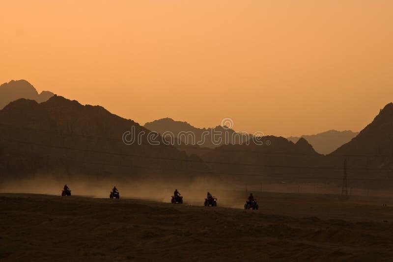 骑自行车的沙漠四元组徒步旅行队 免版税图库摄影