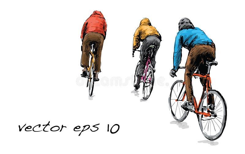 骑自行车者乘坐的固定的齿轮自行车剪影在街道, illustrat上的 库存例证