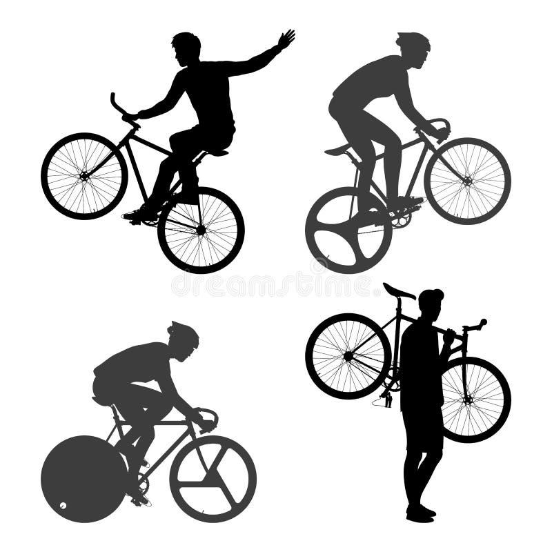 骑自行车者供以人员和固定的齿轮自行车 皇族释放例证