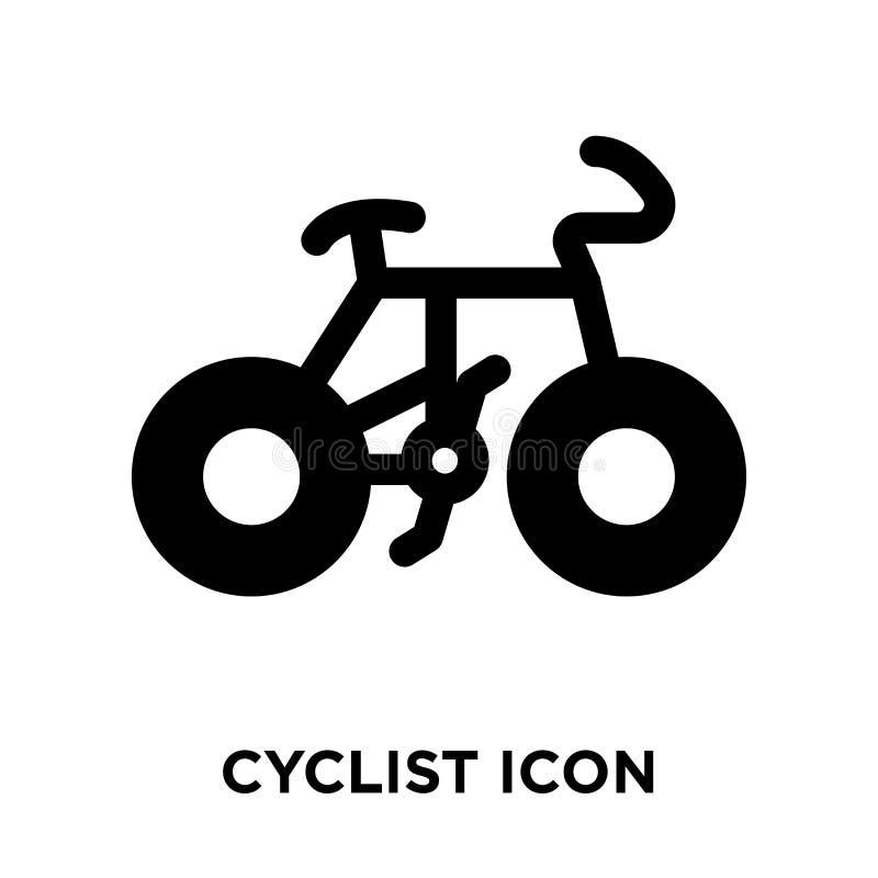 骑自行车者在白色背景隔绝的象传染媒介,商标概念o 向量例证