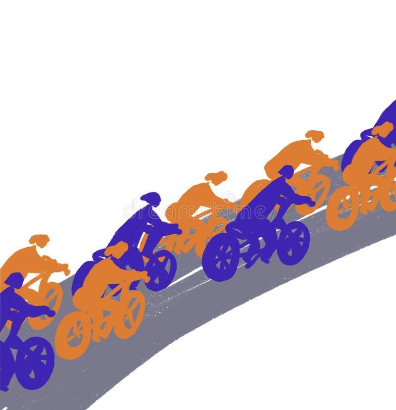 骑自行车者在路,剪影乘坐 向量例证