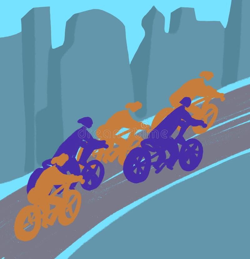 骑自行车者在路,抽象例证乘坐 库存例证