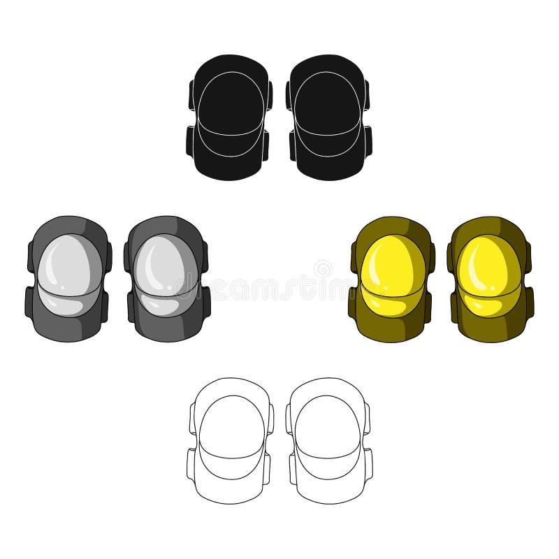 骑自行车者的防护肘垫子 运动员的保护 在动画片,黑样式传染媒介的骑自行车者成套装备唯一象 向量例证