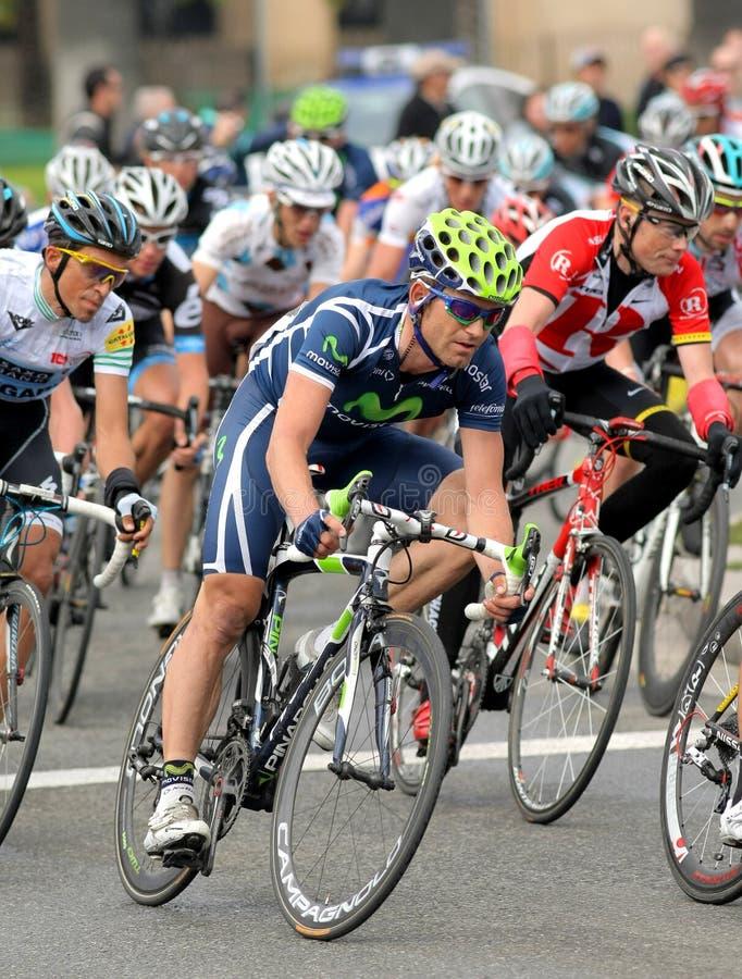 骑自行车者约阿奎恩・ jose movistar罗哈斯s小 免版税库存照片