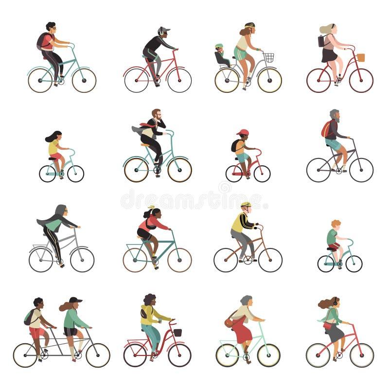 骑自行车者被设置 愉快的人民乘坐的自行车家庭乘驾纵排自行车儿童妇女人体育适应室外活动 库存例证
