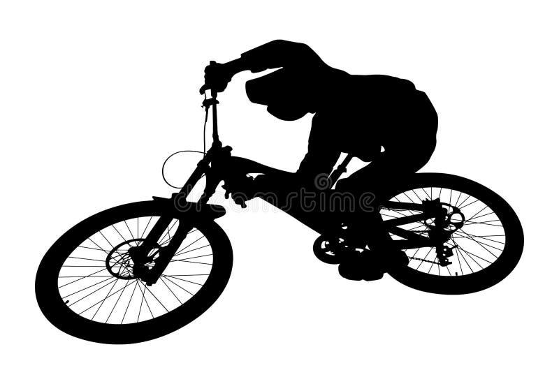 骑自行车者跳下坡 向量例证