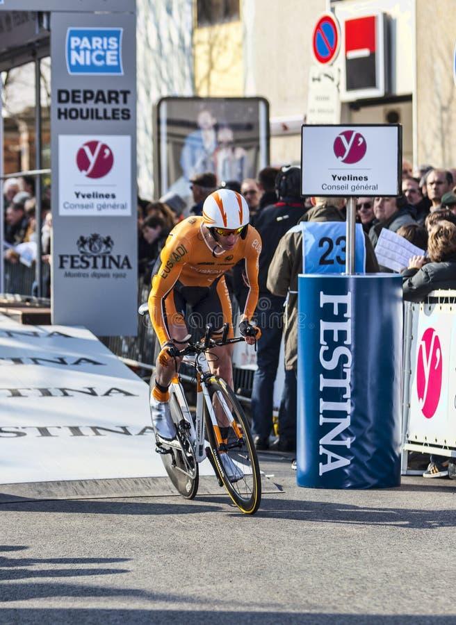 骑自行车者Kocjan Jure-巴黎尼斯2013年序幕在Houilles 编辑类库存图片
