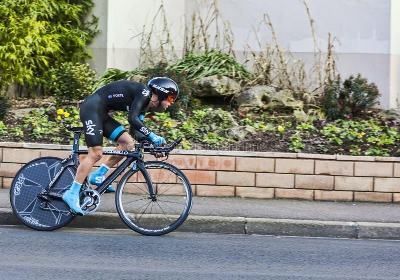 骑自行车者Richie Porte-巴黎尼斯2013年序幕在Houilles 编辑类库存照片