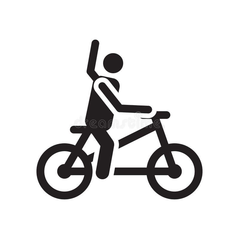 骑自行车象在白色背景和标志隔绝的传染媒介标志,自行车商标概念 库存例证