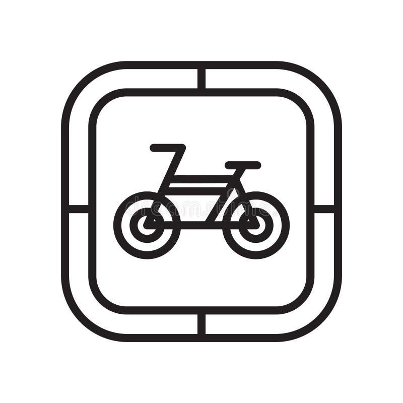 骑自行车象在白色背景和标志隔绝的传染媒介标志,自行车商标概念 向量例证