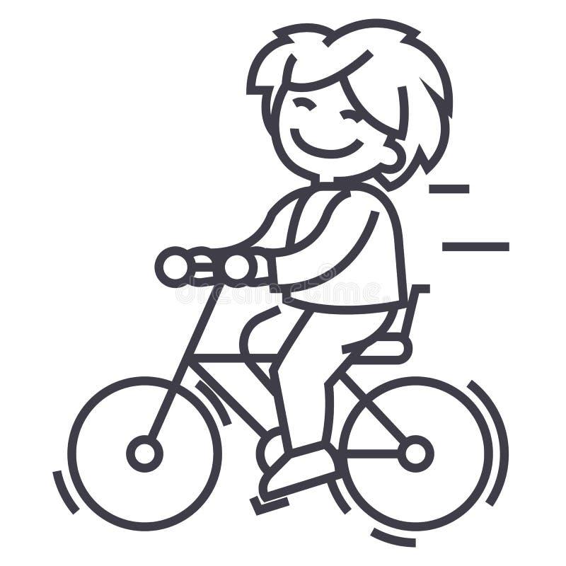 骑自行车,乘坐男孩传染媒介线象,标志,在背景,编辑可能的冲程的例证.图片