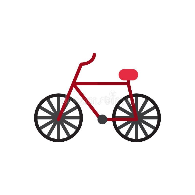 骑自行车,自行车平的象,被填装的传染媒介标志,在白色隔绝的五颜六色的图表 向量例证