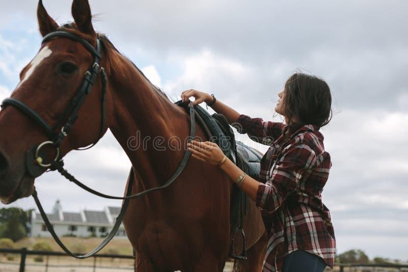 骑马妇女马为乘驾做准备 免版税库存图片