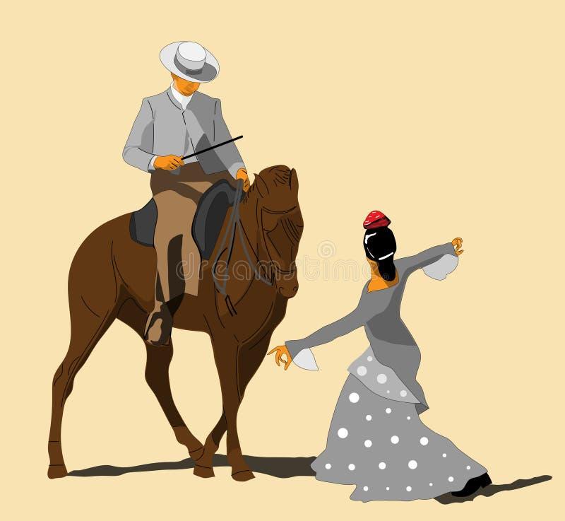骑马展示在科多巴,西班牙 皇族释放例证