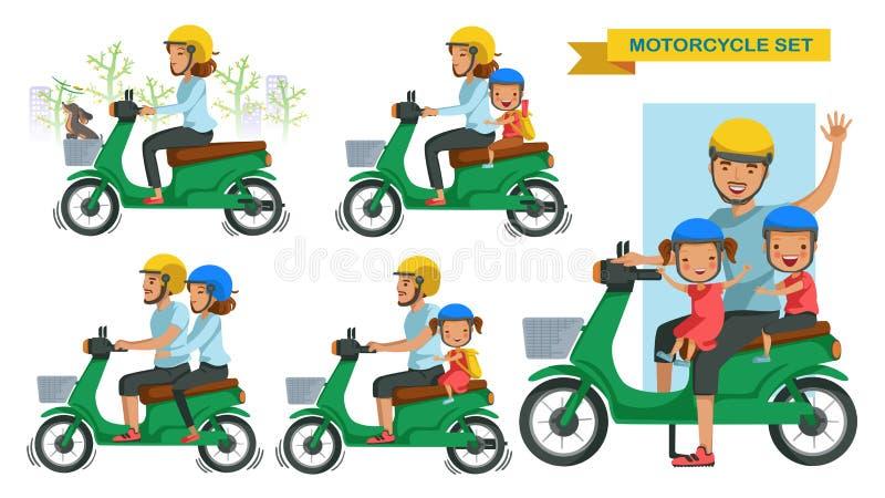 骑马摩托车集合 向量例证