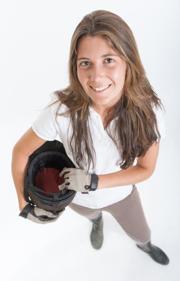骑马齿轮的女孩 免版税图库摄影