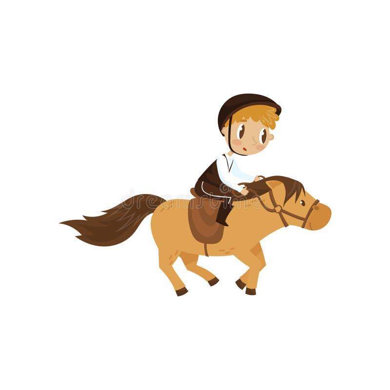 骑马,马术运动概念动画片在白色背景的传染媒介例证的逗人喜爱的litlle男孩 皇族释放例证
