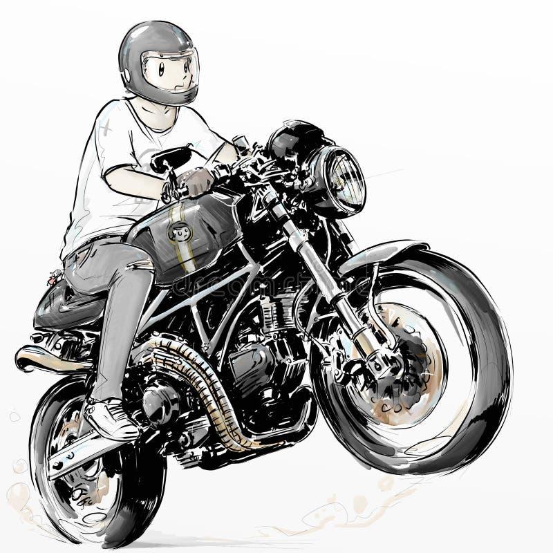骑他的咖啡馆竟赛者碳纤维摩托车的凉快的男孩 库存照片