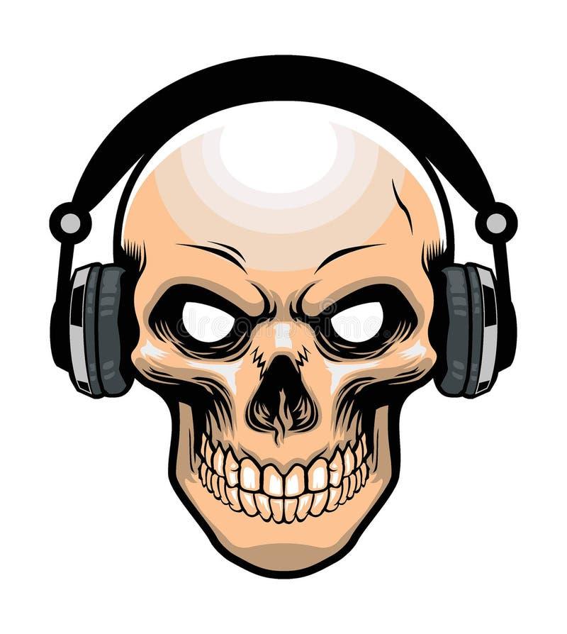 头骨佩带的耳机 向量例证