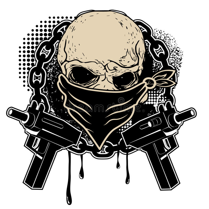 头骨和两把手枪 向量例证