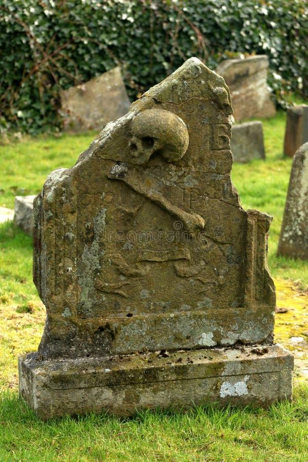 头骨和十字架骨头坟茔石头 免版税库存照片