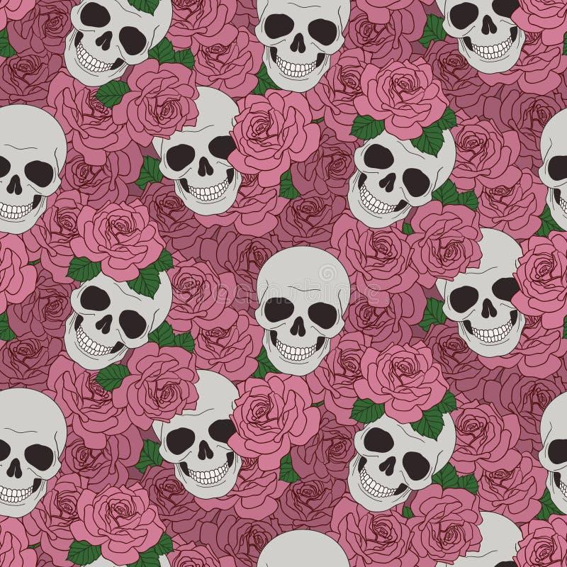 头骨和桃红色玫瑰 向量例证