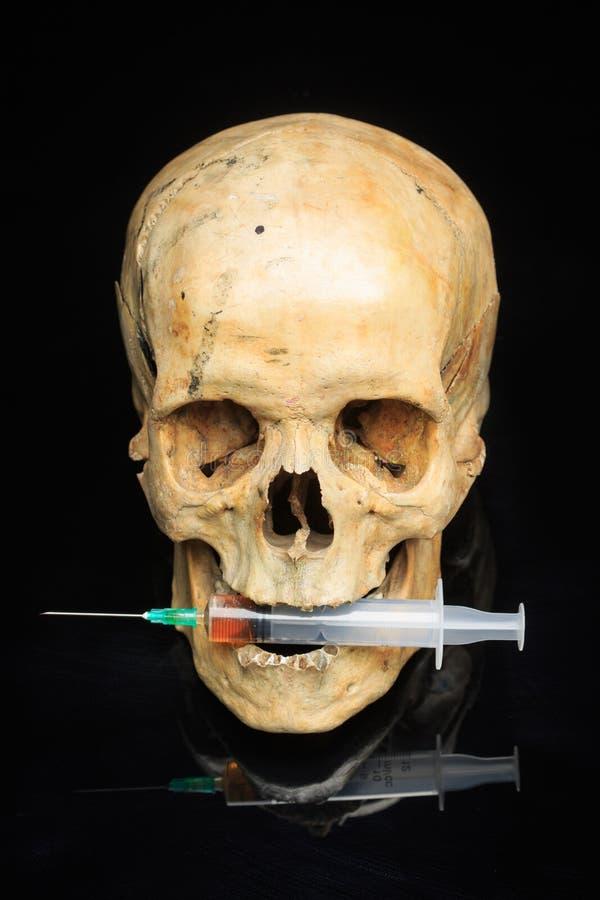头骨和注射器淡黄色液体 概念 免版税库存图片