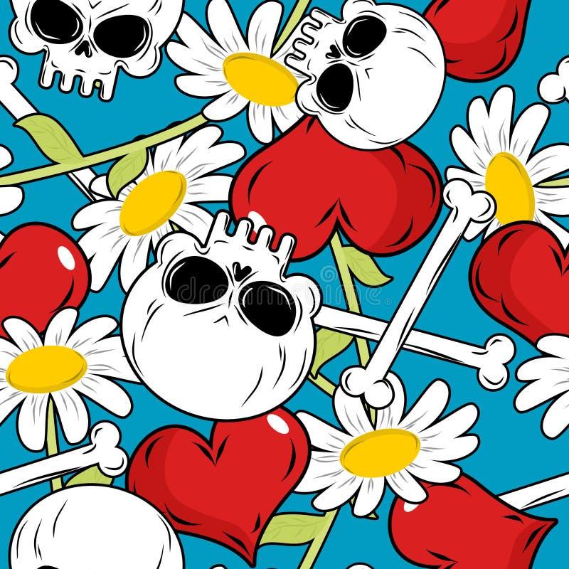 头骨和爱无缝的patetrn 红色心脏和戴西 库存例证