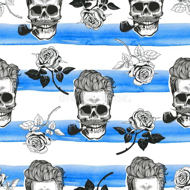 头骨和玫瑰无缝的纸 库存照片