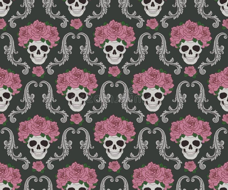 头骨和玫瑰锦缎样式 库存例证