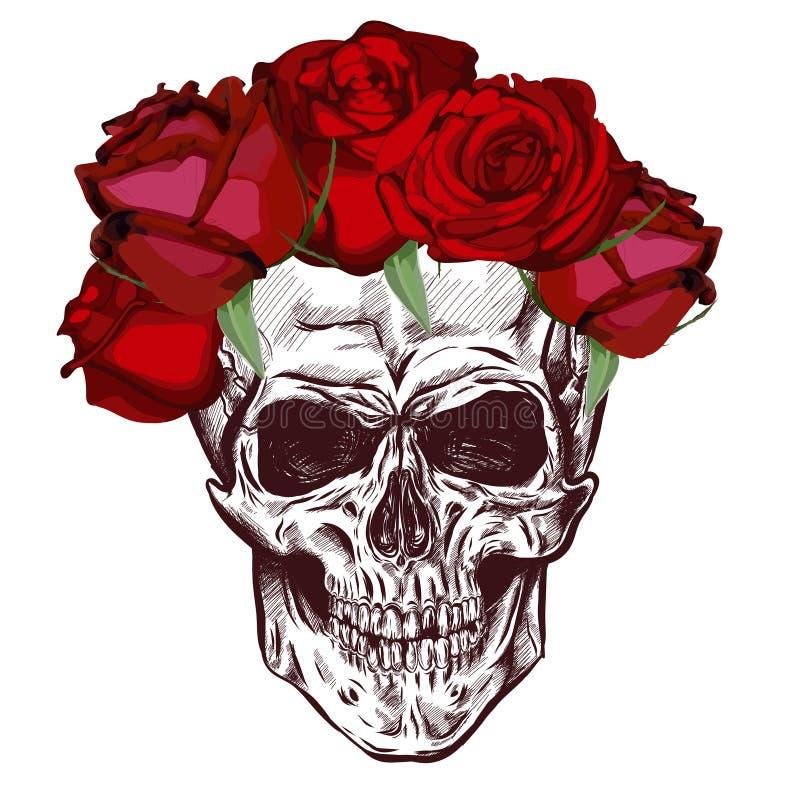 头骨和玫瑰 与渐进性作用的剪影 向量 向量例证