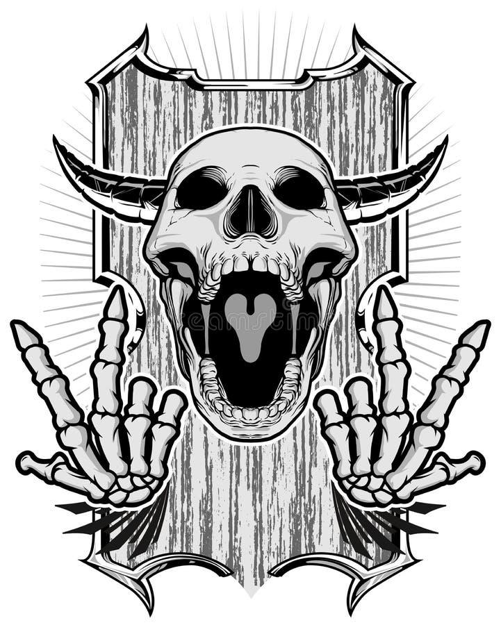 头骨和骨骼 皇族释放例证