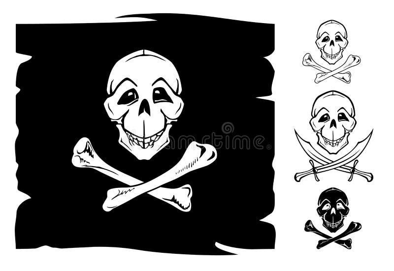 骨头交叉标志头骨 皇族释放例证