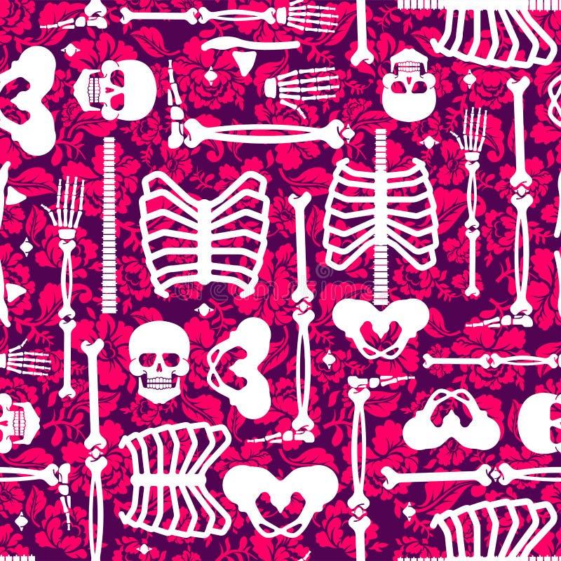 骨头和花纹花样无缝 最基本的头骨和玫瑰bac 库存例证