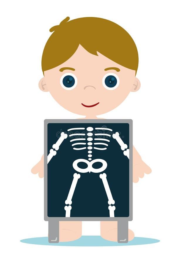 骨头孩子光芒x 向量例证