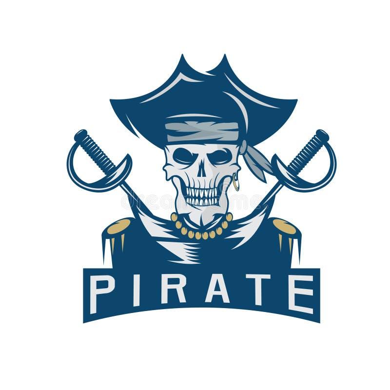 头骨帽子剑的上尉海盗设计模板 皇族释放例证