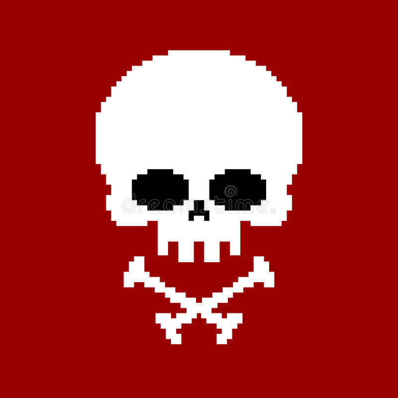 头骨映象点艺术 骨骼头在白色ba pixelated隔绝 皇族释放例证