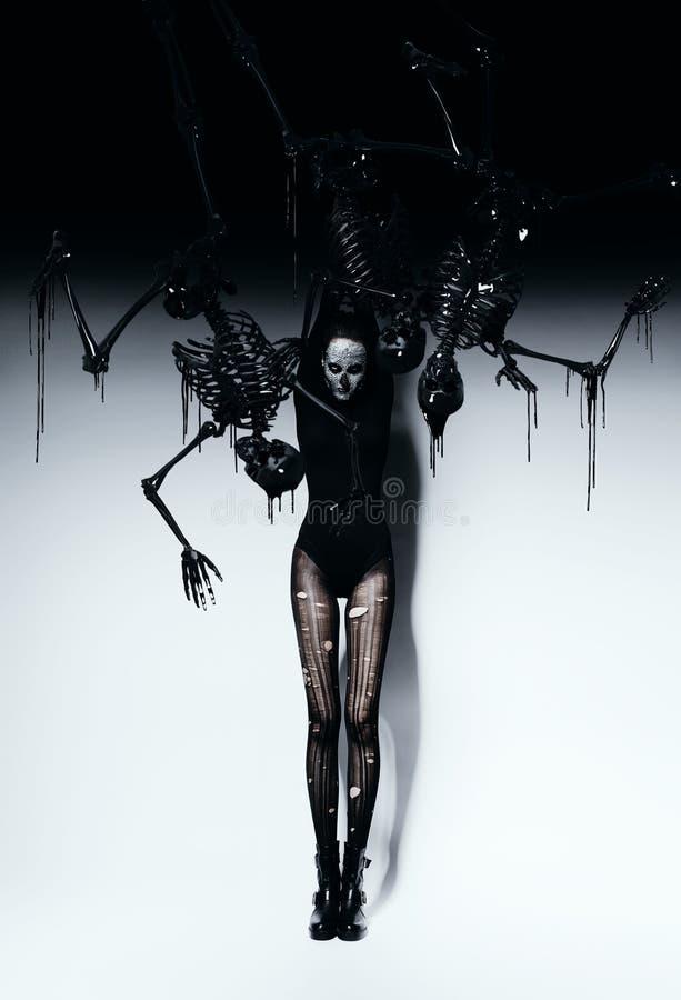 头骨构成和骨骼的高妇女 免版税库存照片