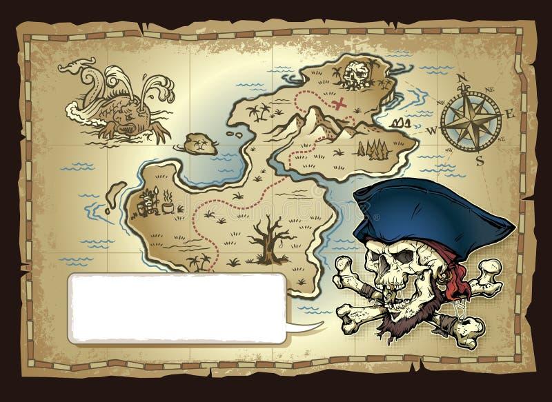 头骨海岛珍宝地图 库存例证