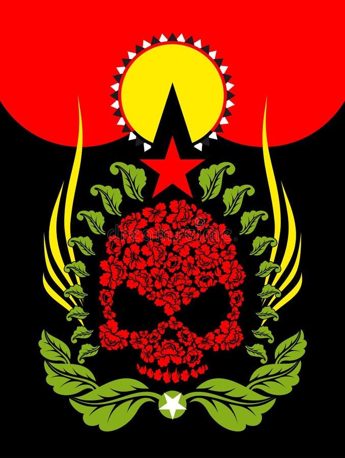 头骨玫瑰 花和星 意想不到的图腾 库存例证