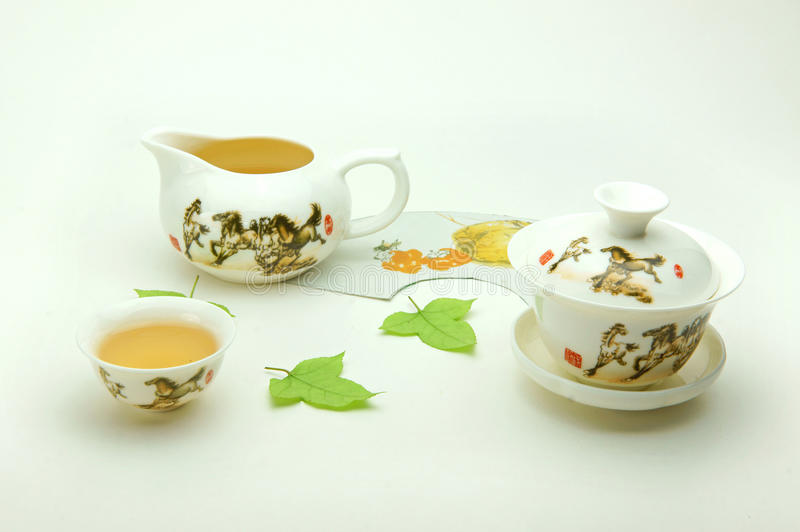 骨瓷新的集茶 库存图片
