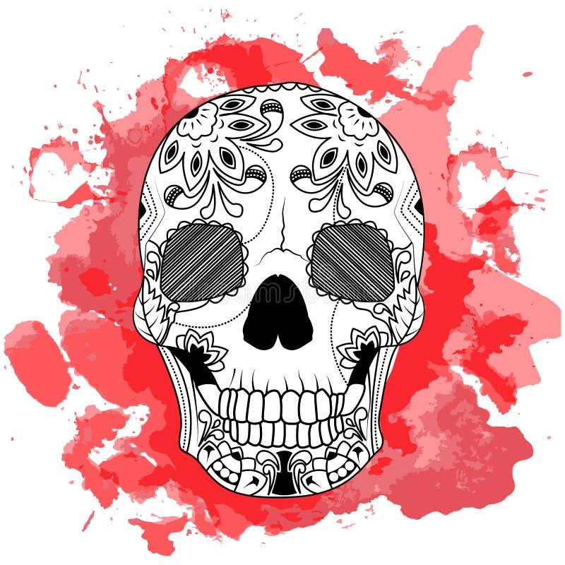 画黑头骨的线艺术手隔绝在与红色水彩的白色背景弄脏 乱画样式 Tatoo Zenart 库存例证