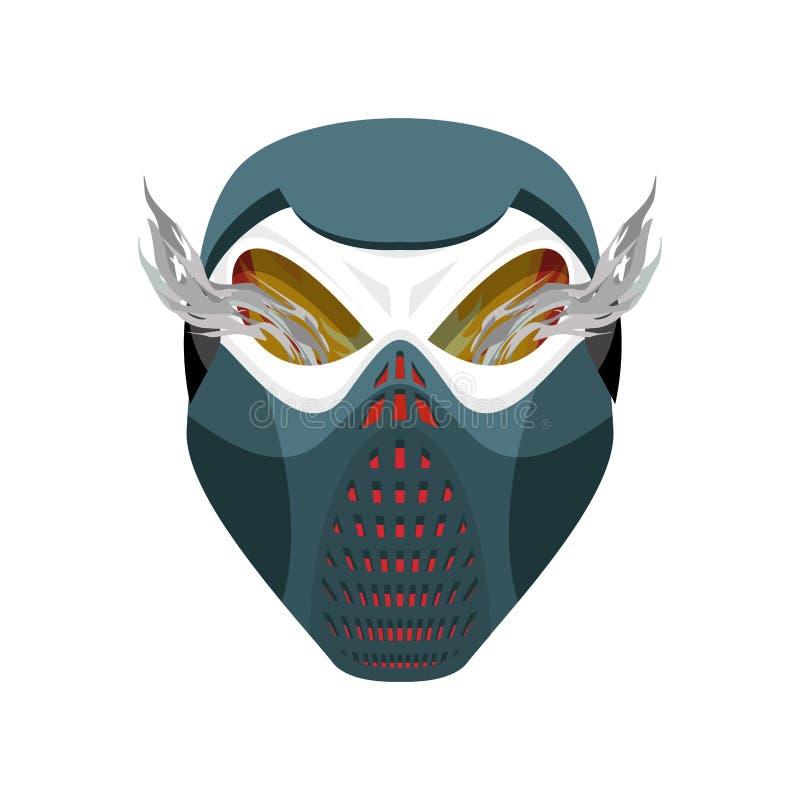 头骨防毒面具 地狱防御者 可怕的头疼 skeleto 向量例证