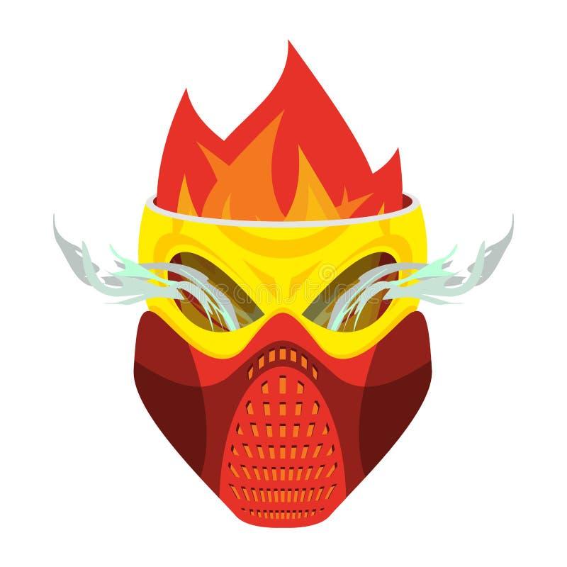 头骨防毒面具 地狱防御者 可怕的头疼 skeleto 库存例证