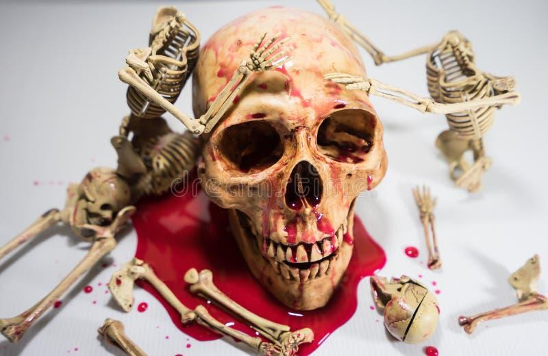 骨骼和头骨万圣夜节日 图库摄影