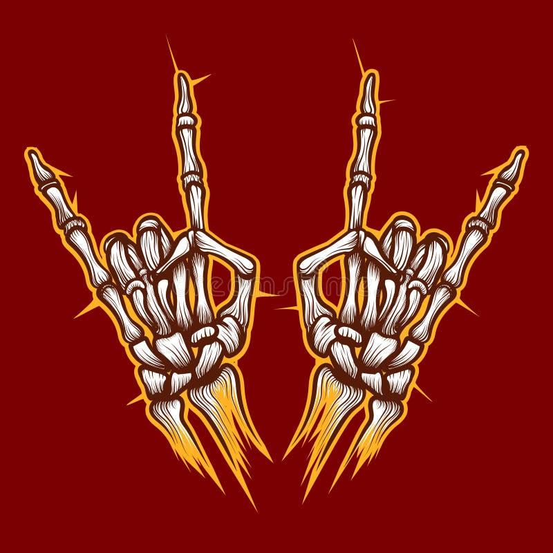 骨骼去骨手摇滚乐标志 向量例证