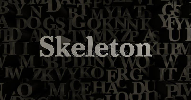 骨骼- 3D回报了金属被排版的标题例证 皇族释放例证
